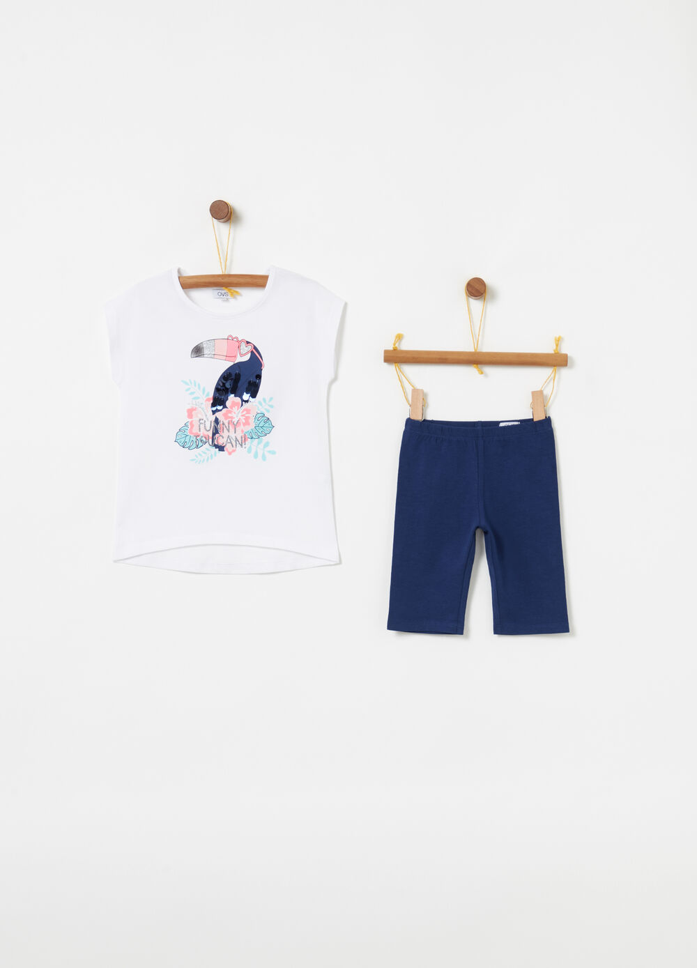 T-shirt and leggings jogging set with glitter print