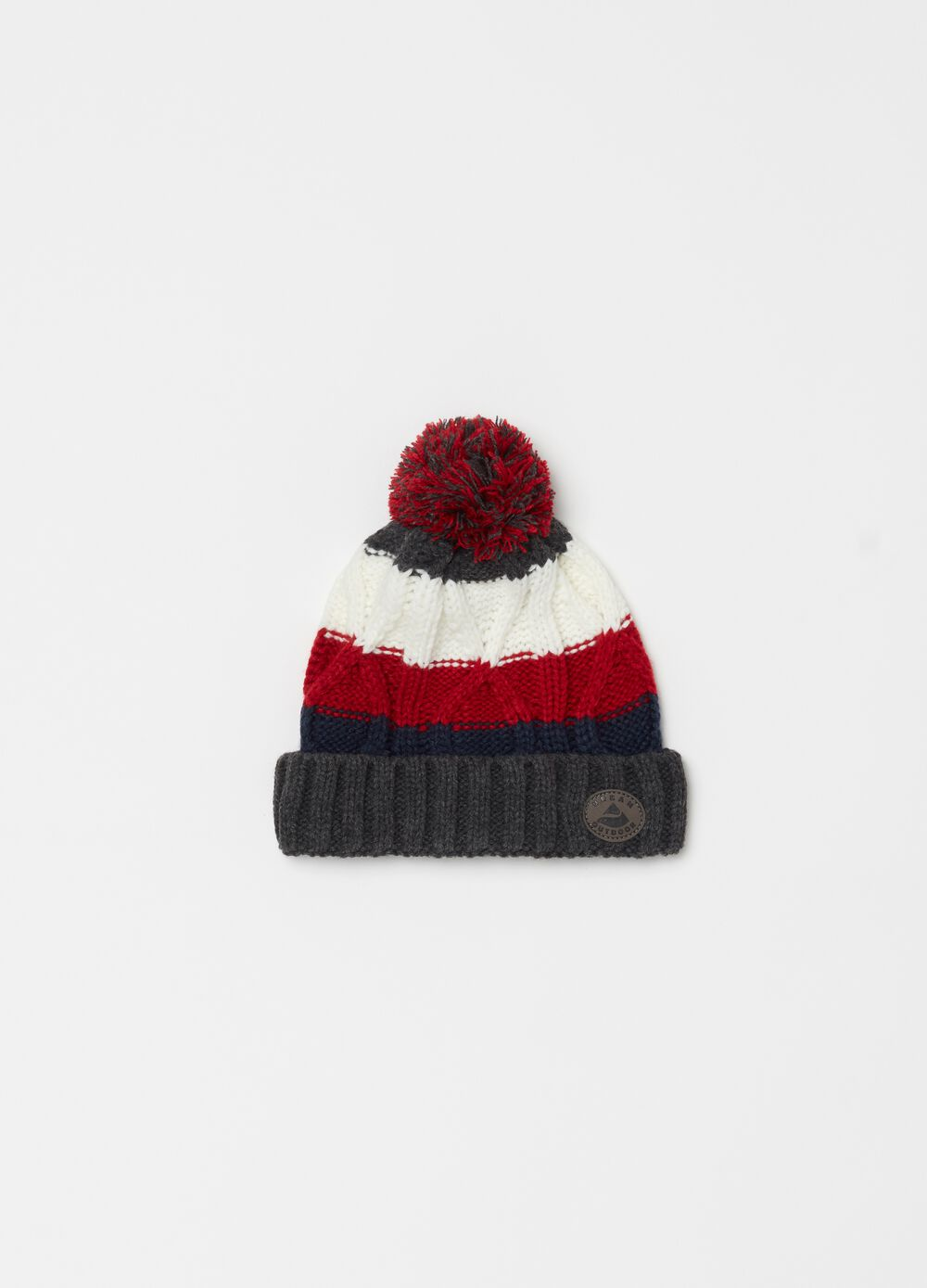Knitted hat with braided striped weave