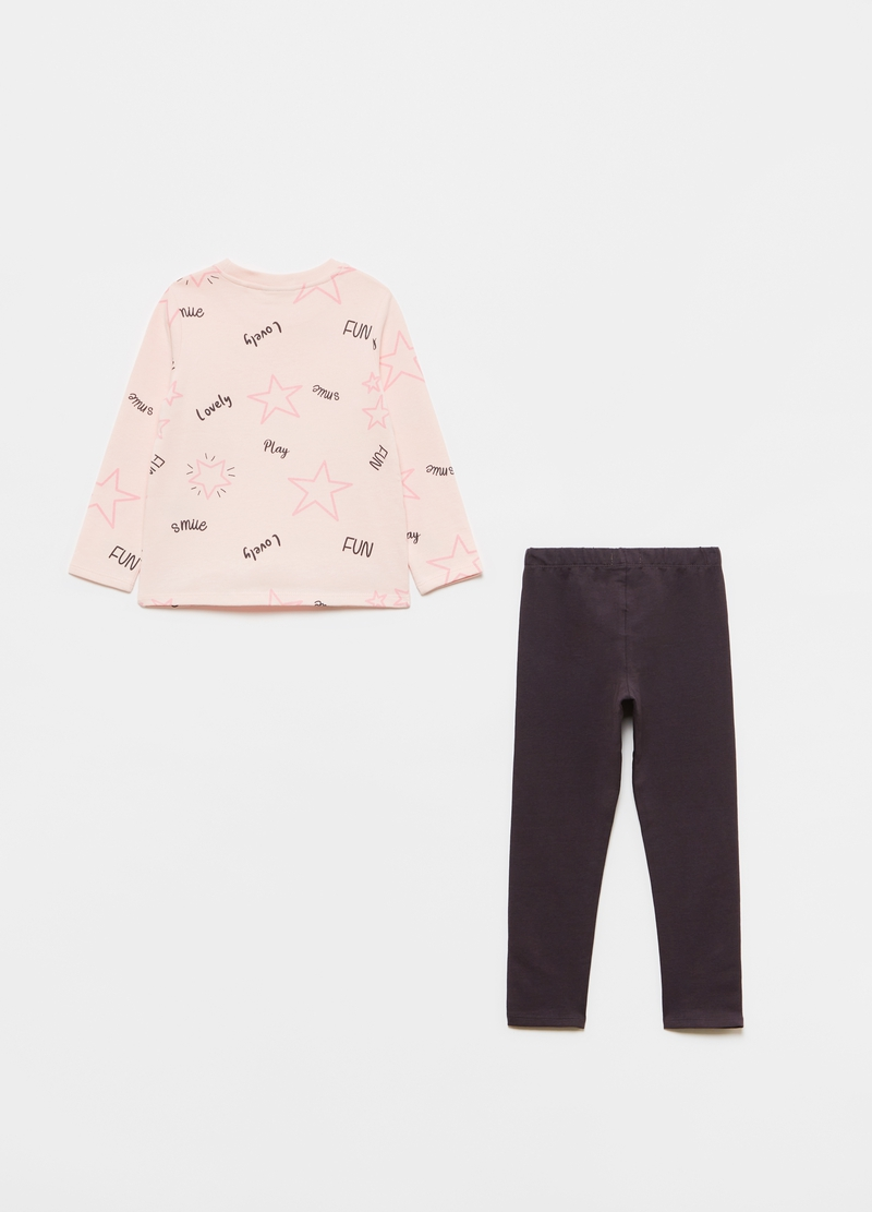 Jogging set with T-shirt and leggings with stars pattern image number null