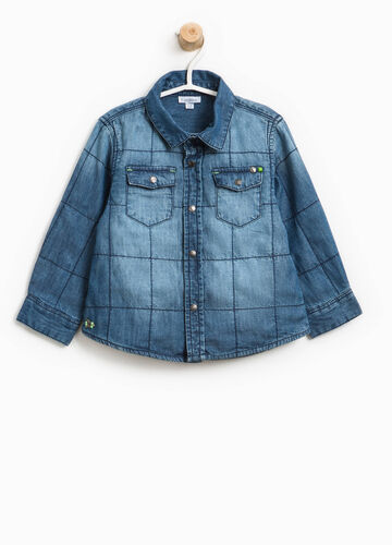 Washed-effect denim shirt with stitching