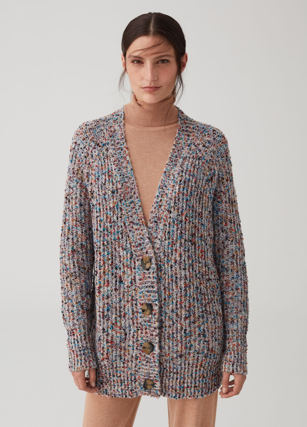 Multicoloured knitted cardigan with buttons