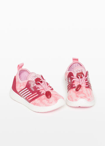 Two-tone sneakers with striped weave upper