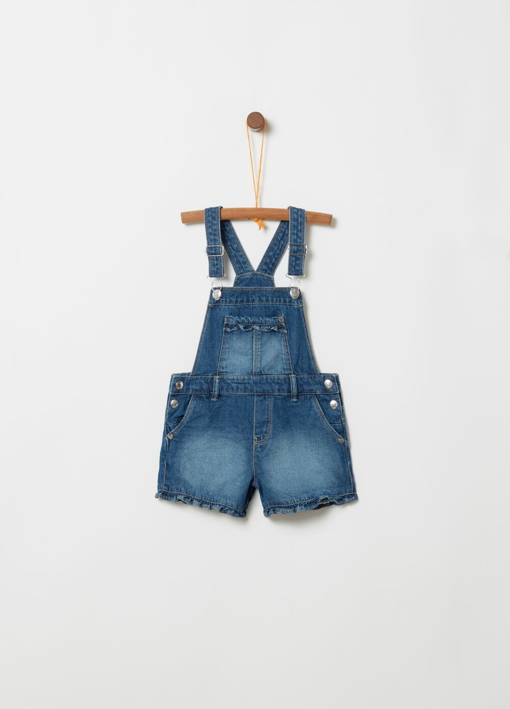 Short denim dungarees with rolled hem