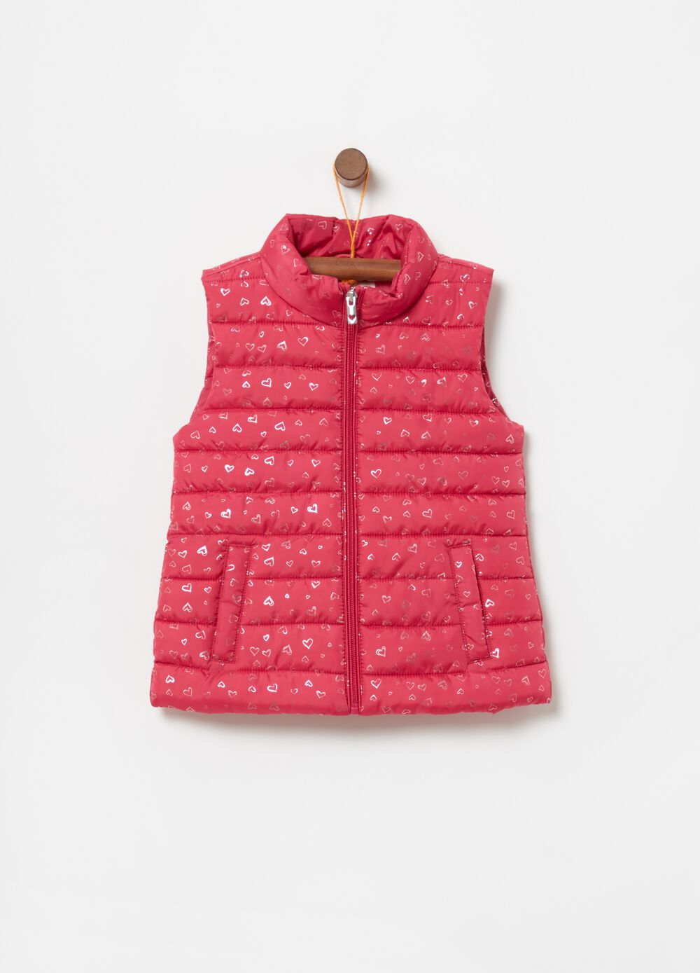 Padded gilet with heart pattern
