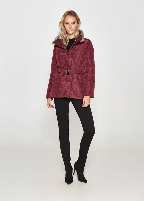 Jacket with faux fur and belt | OVS