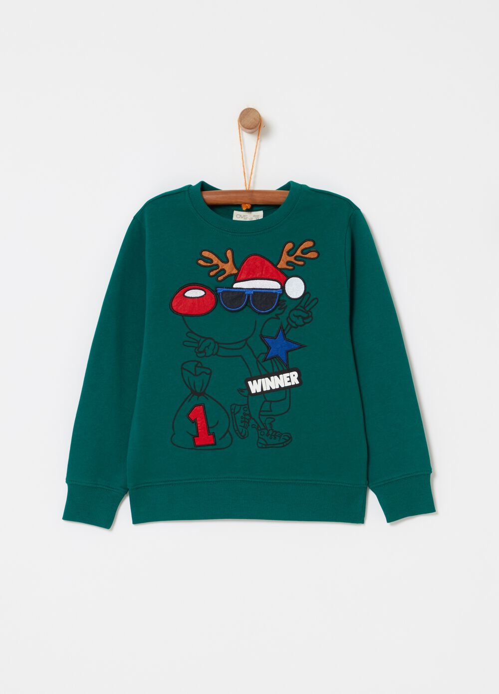100% cotton sweatshirt with reindeer print