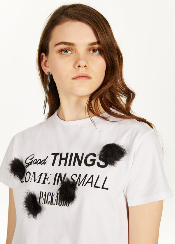Printed crop T-shirt in 100% cotton