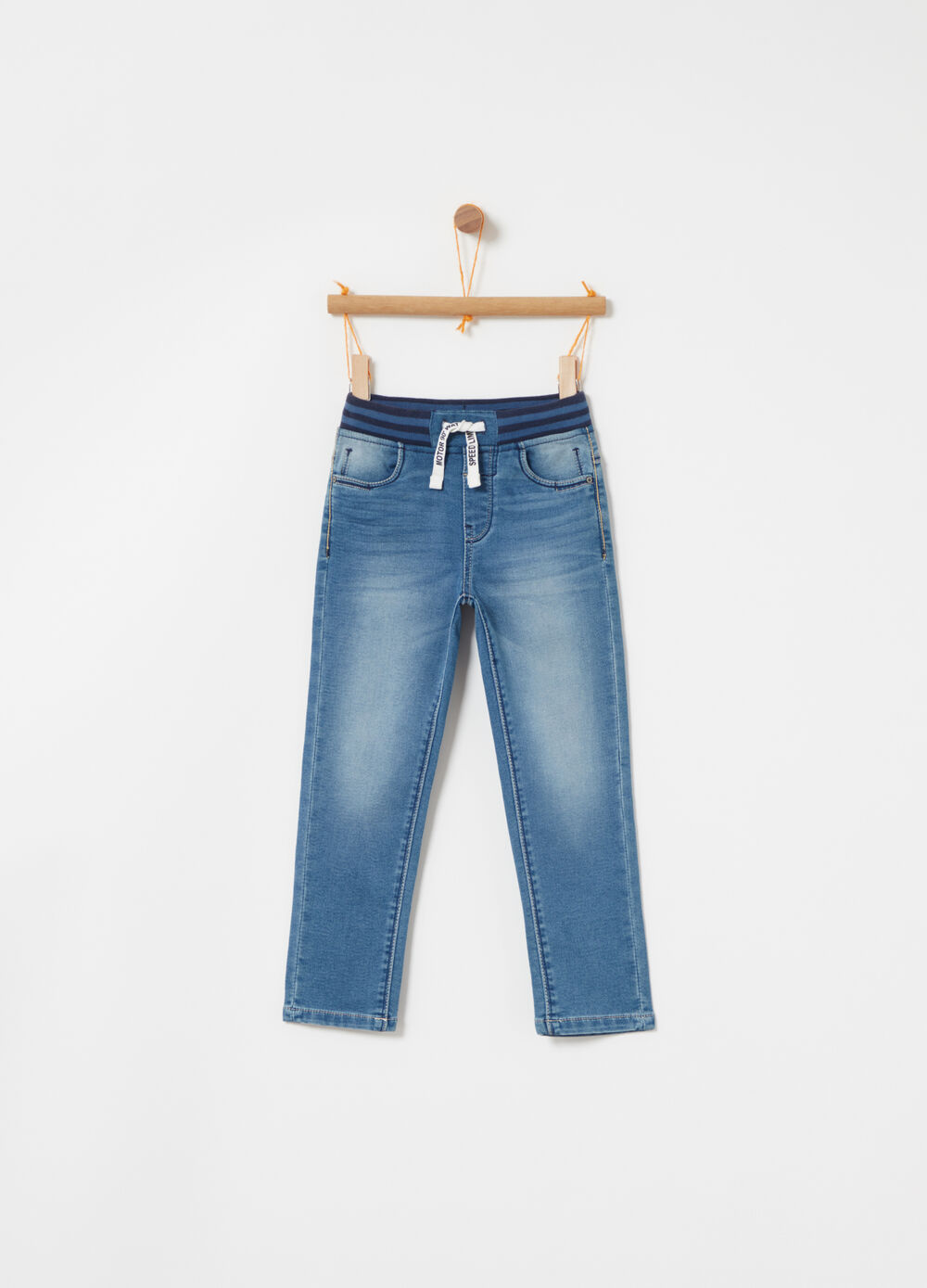 Denim jogger skinny fit stretch con tasche