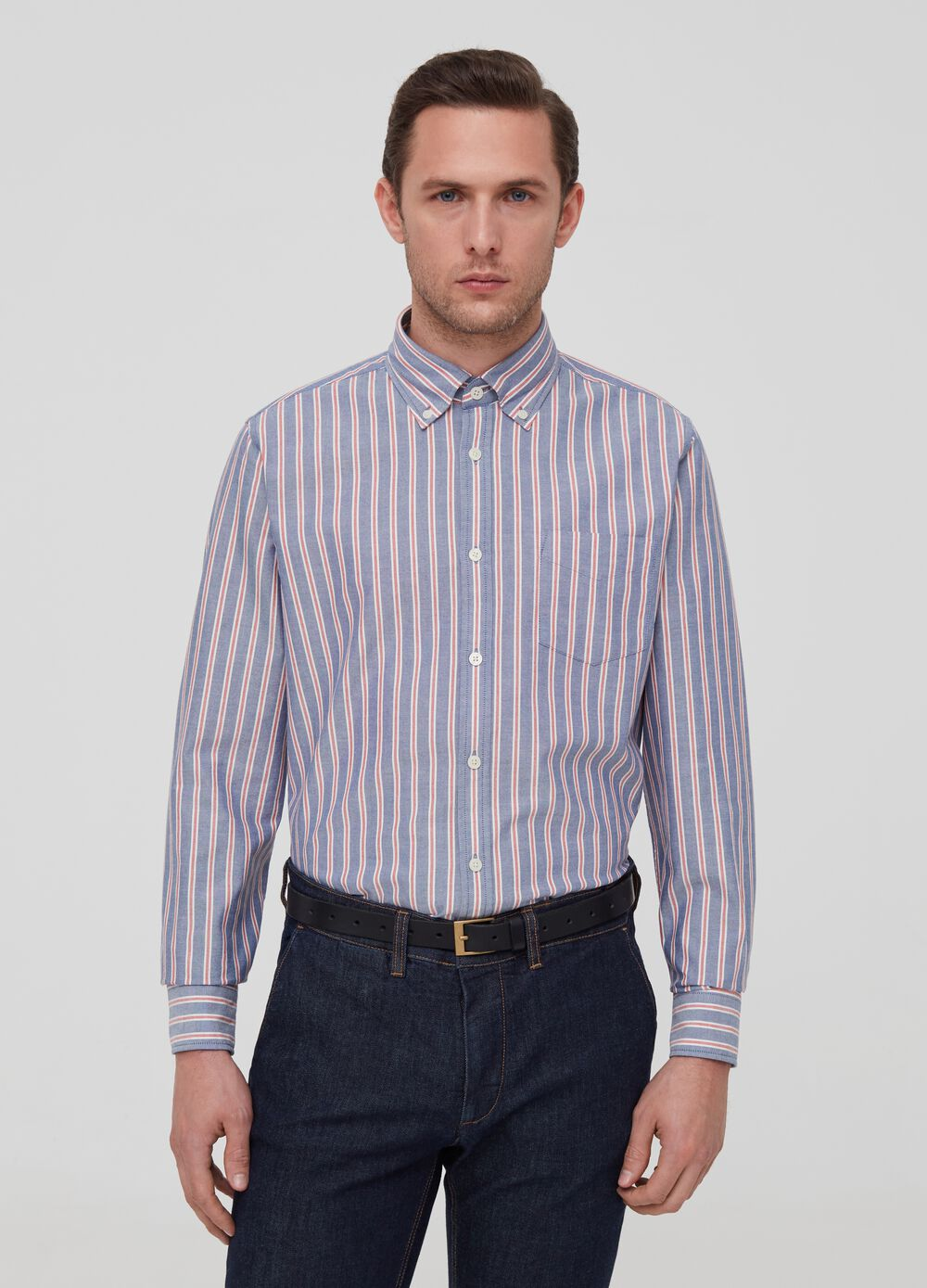 100% cotton shirt with button-down collar