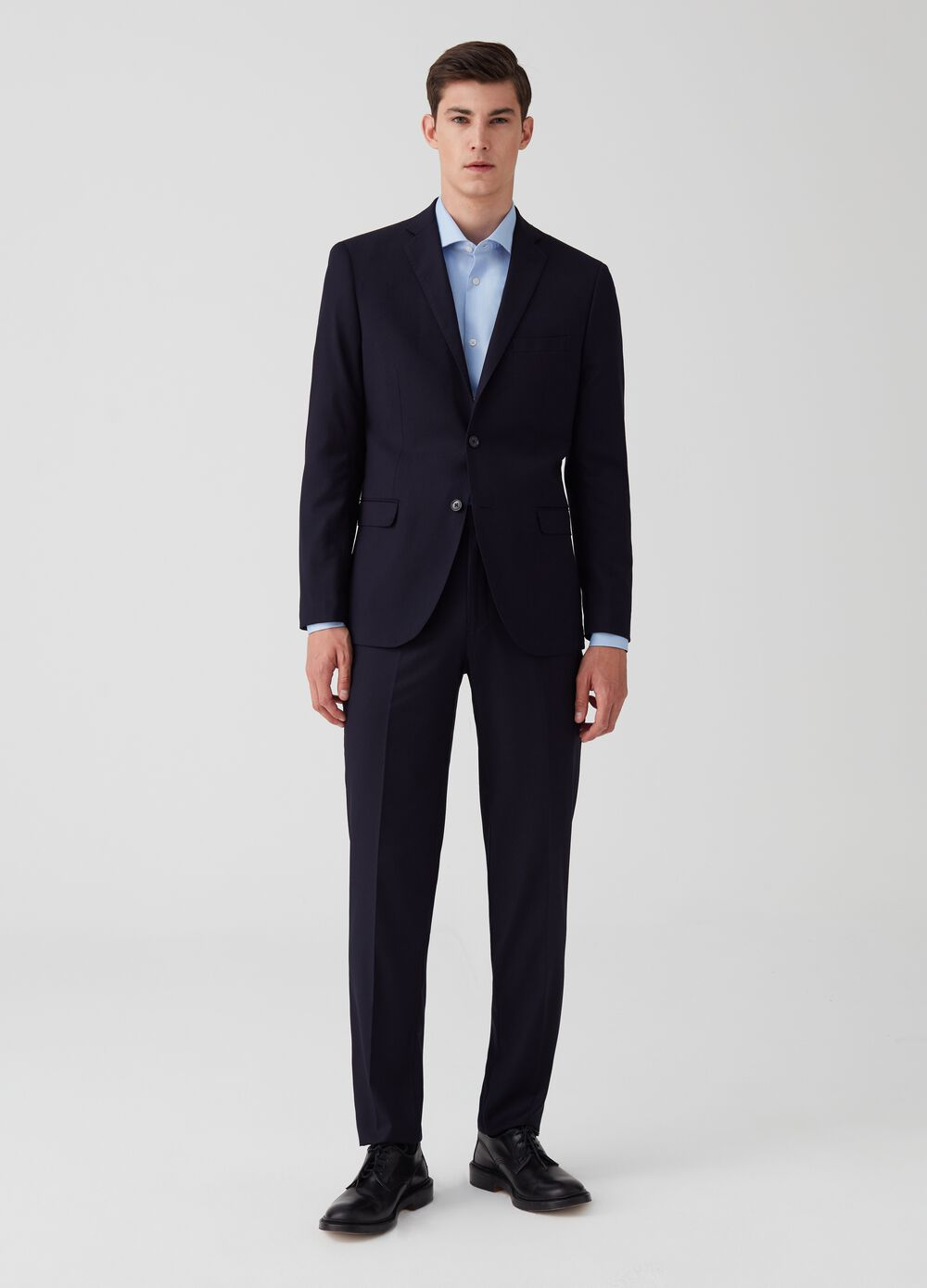 Regular-fit stretch blazer with lapels and pocket