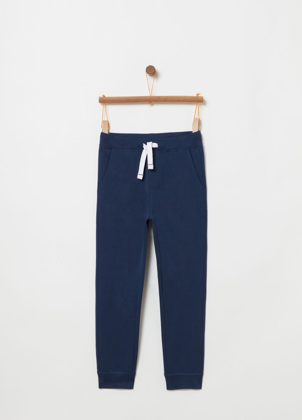 Pantalone regular fit coulisse a contrasto
