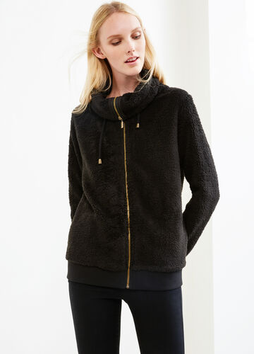 Faux fur sweatshirt with high neck and drawstring