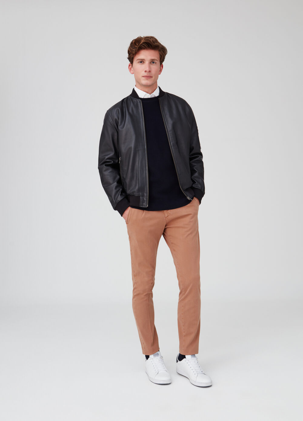 Rumford leather jacket with zip pockets