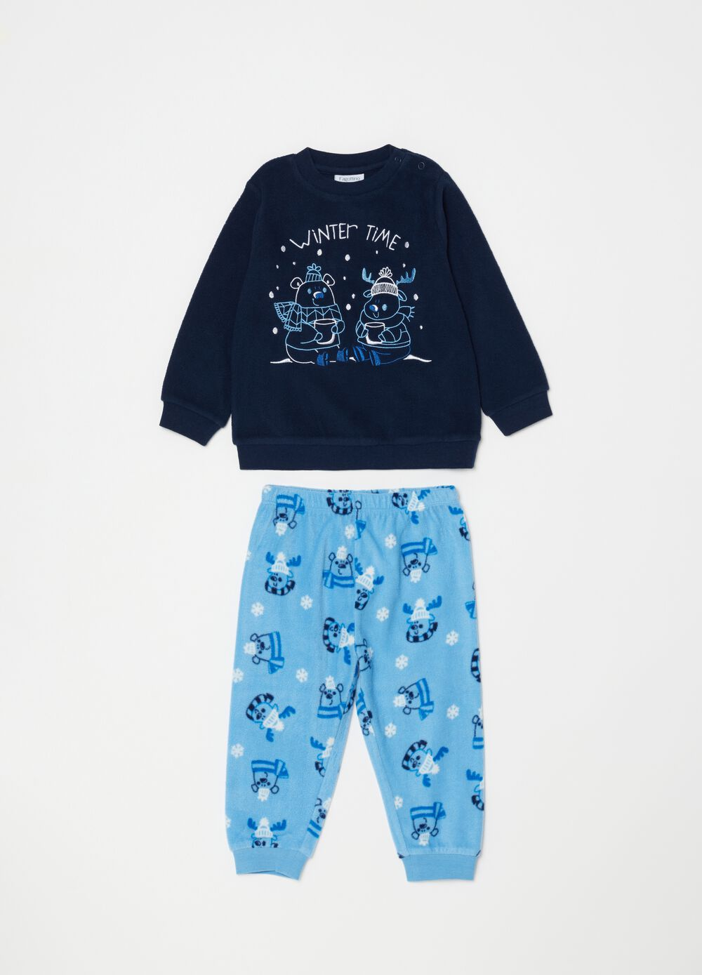 Long chenille-effect pyjamas with pattern