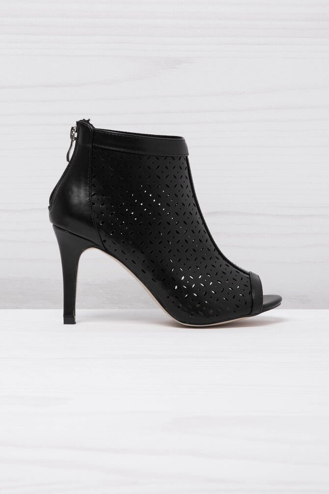 Open-toe openwork ankle boots