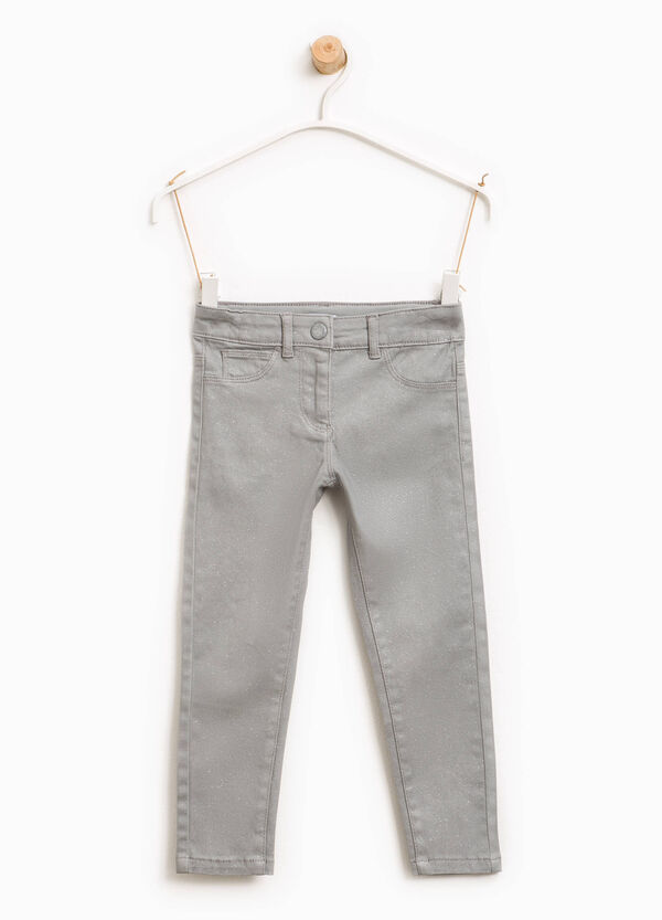 Stretch cotton twill trousers with glitter | OVS