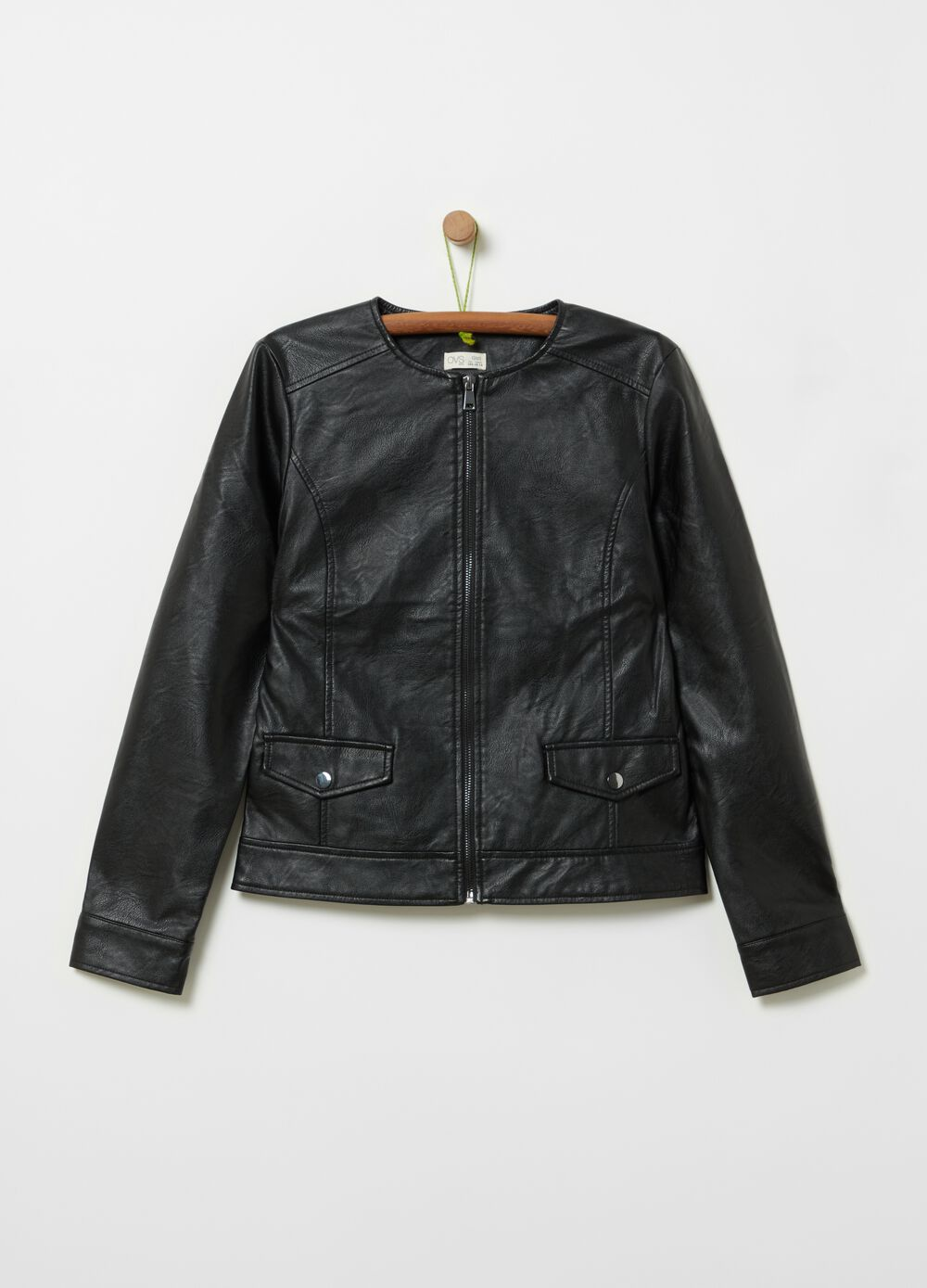Faux leather jacket with pockets