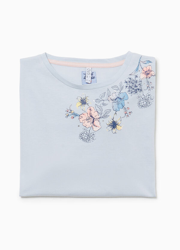 Floral pyjama top in 100% cotton