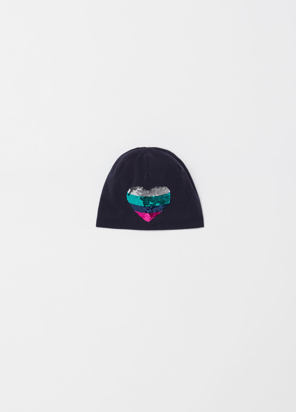 Jersey cap with heart-shaped sequins