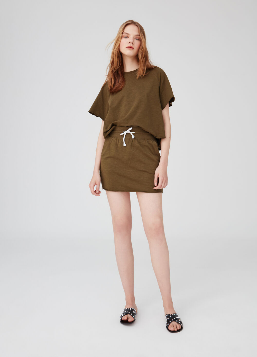 Stretch biocotton short Earth Day skirt