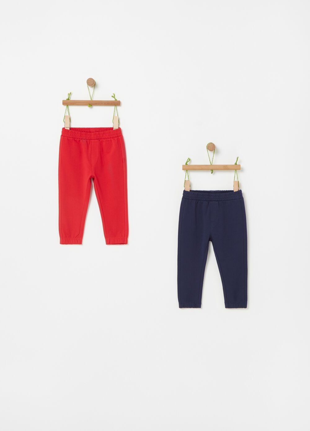 Two-pack 100% cotton jogger trousers