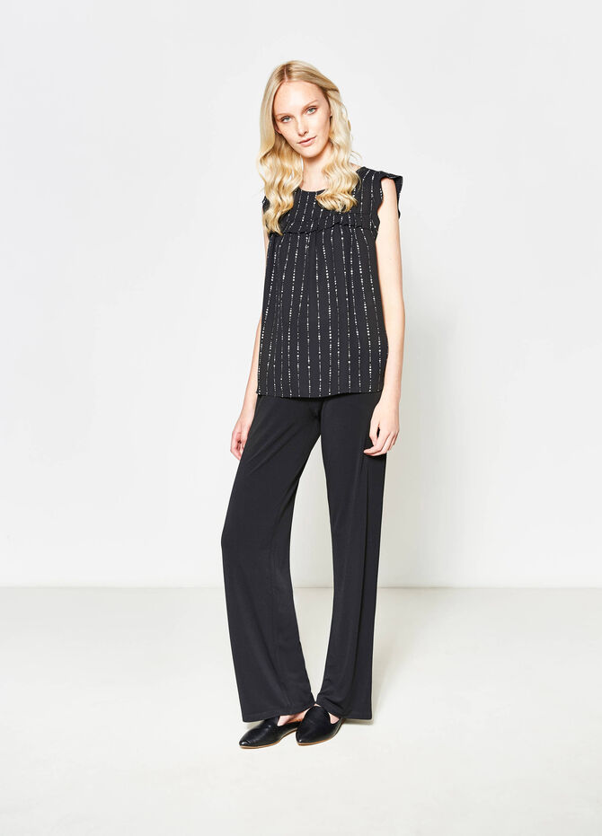 Patterned blouse with flounces