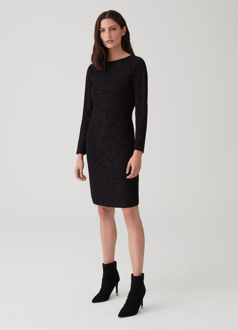 Boat neck dress with lurex