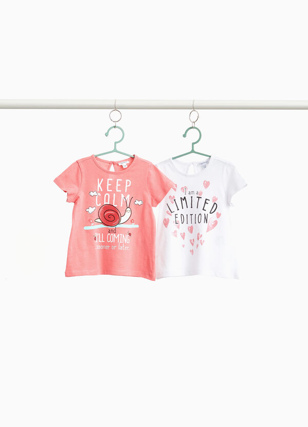 Two-pack cotton T-shirts with lettering print