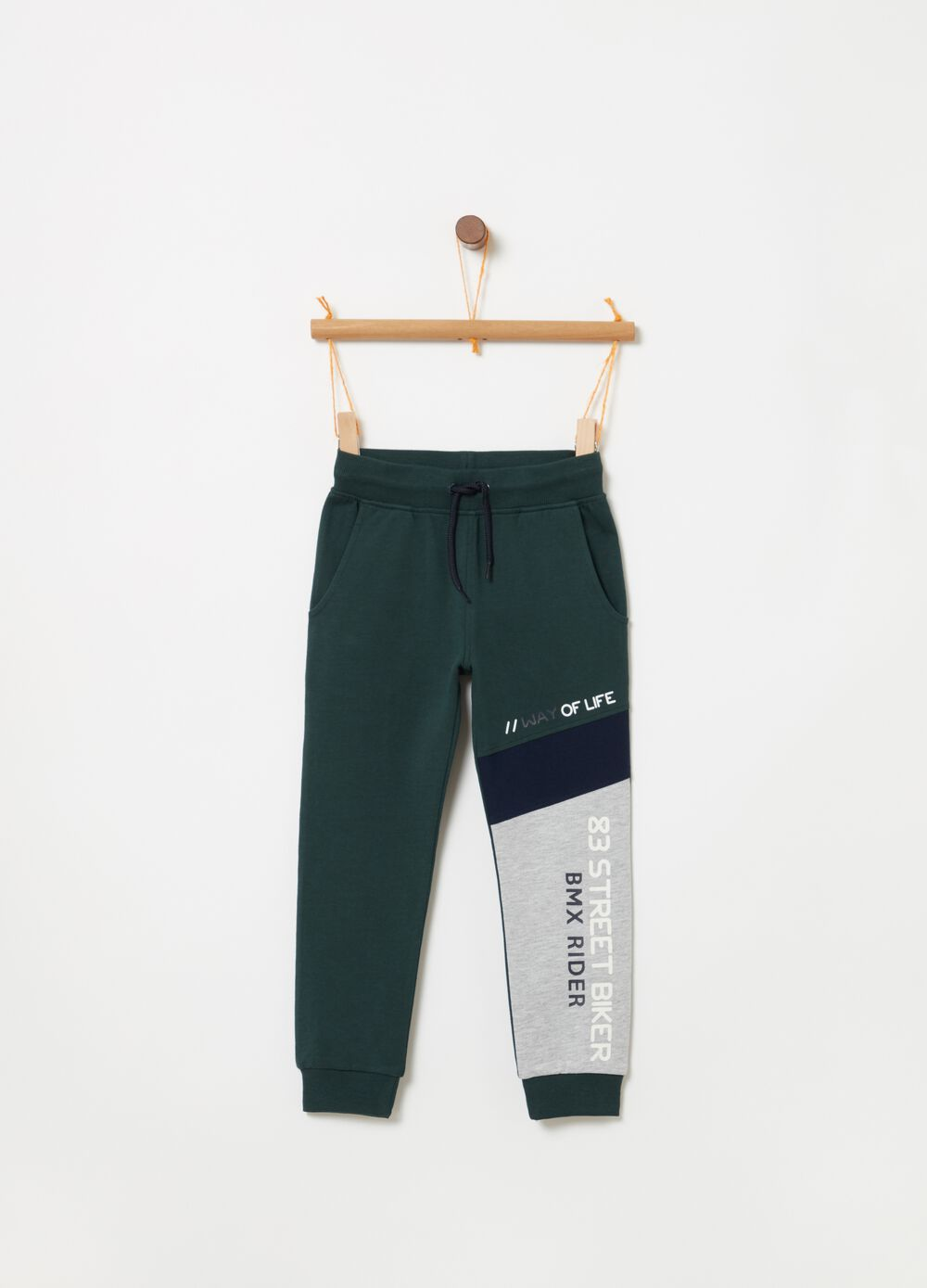 French terry jogger trousers with print