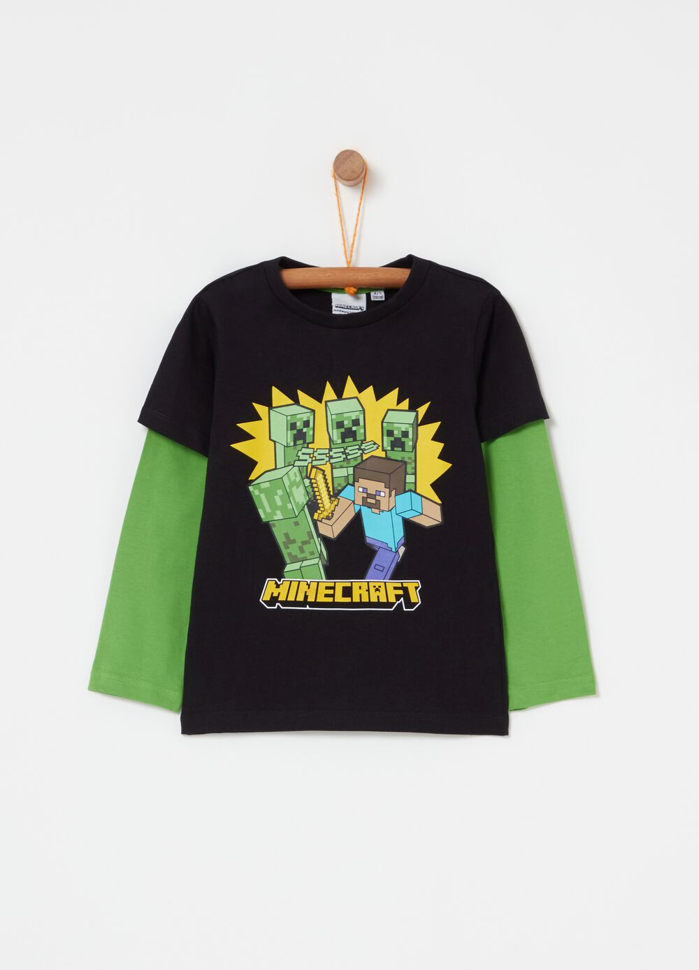 Two-tone T-shirt with Minecraft print