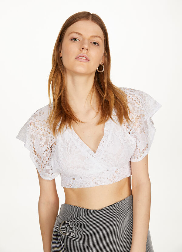 T-shirt crop in pizzo tinta unita