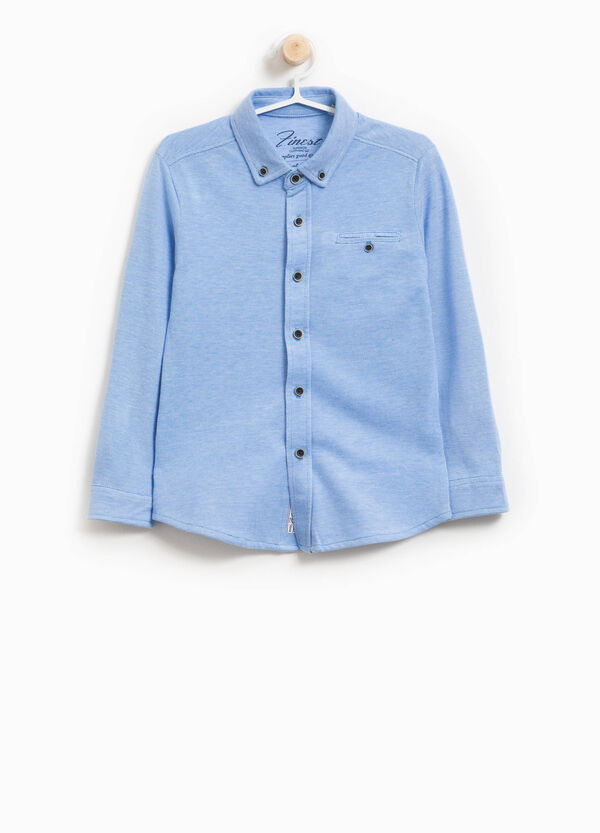 Cotton shirt with button down collar | OVS