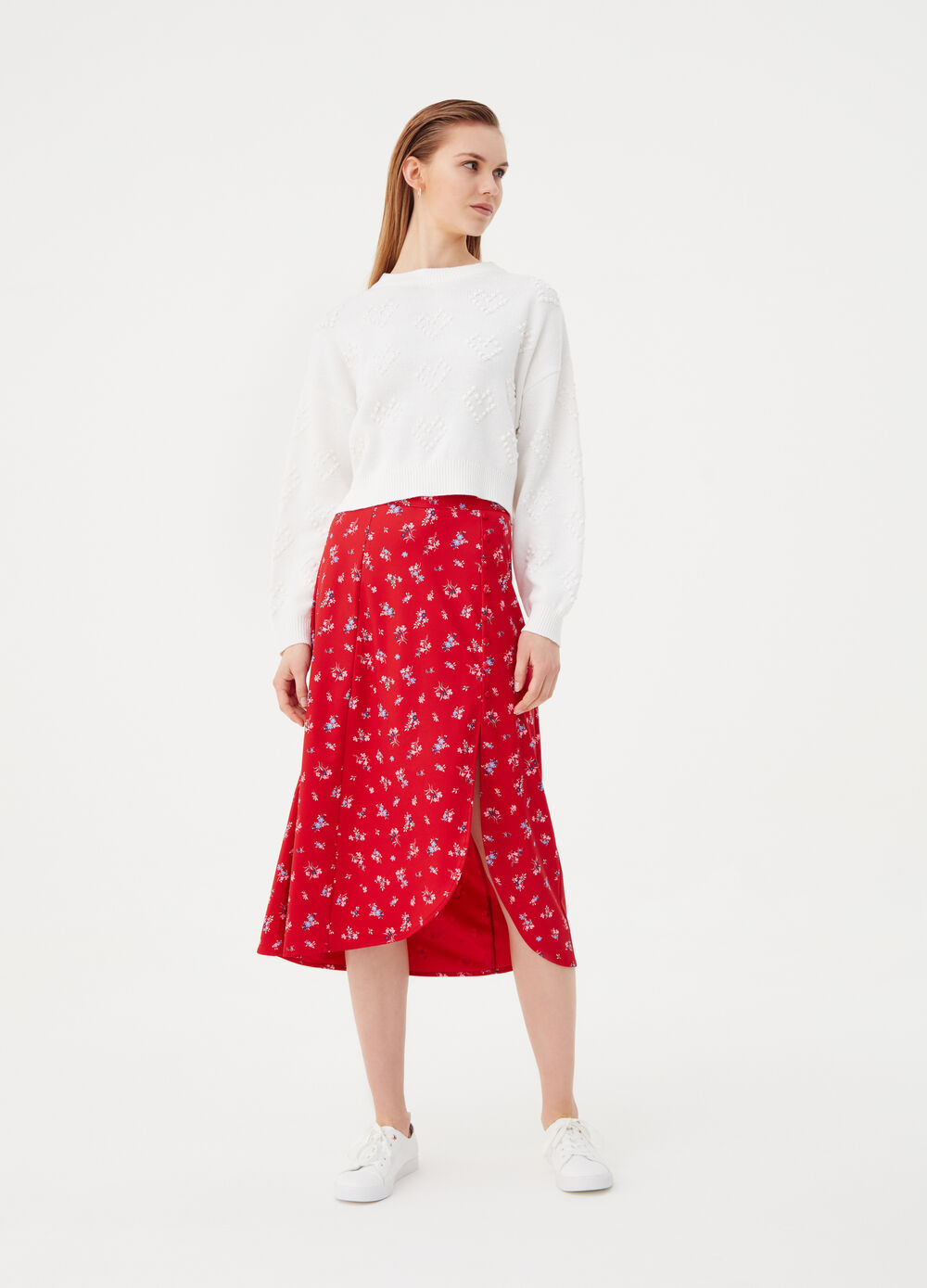 Long stretch skirt with split on the side