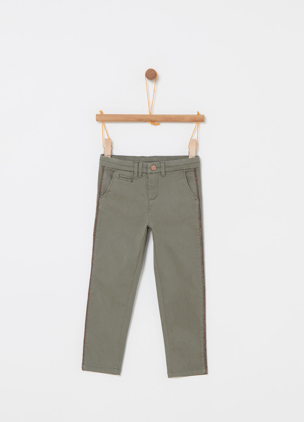 Twill trousers with glitter insert