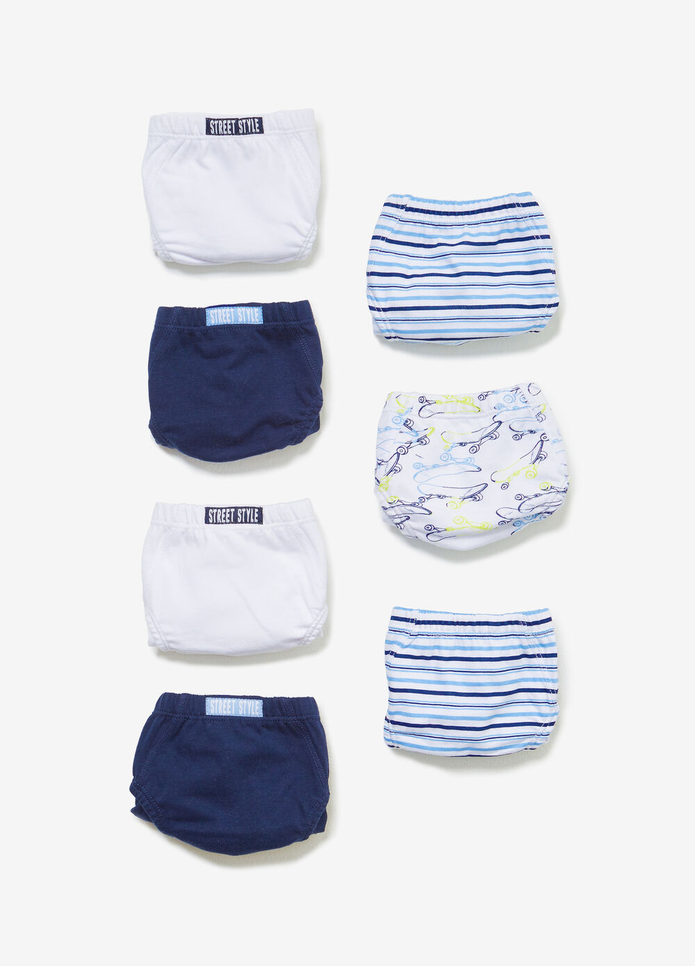 Seven-pack solid colour and patterned cotton briefs