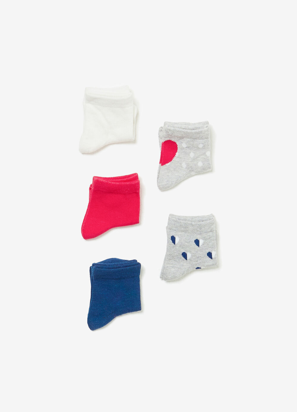 Five-pair pack solid colour and patterned short socks