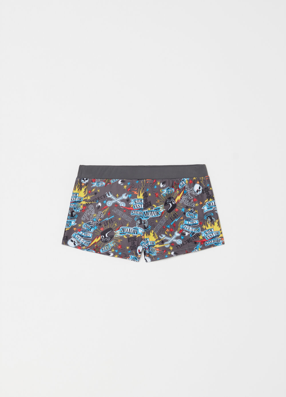 Swim boxers with elastic waist and pattern
