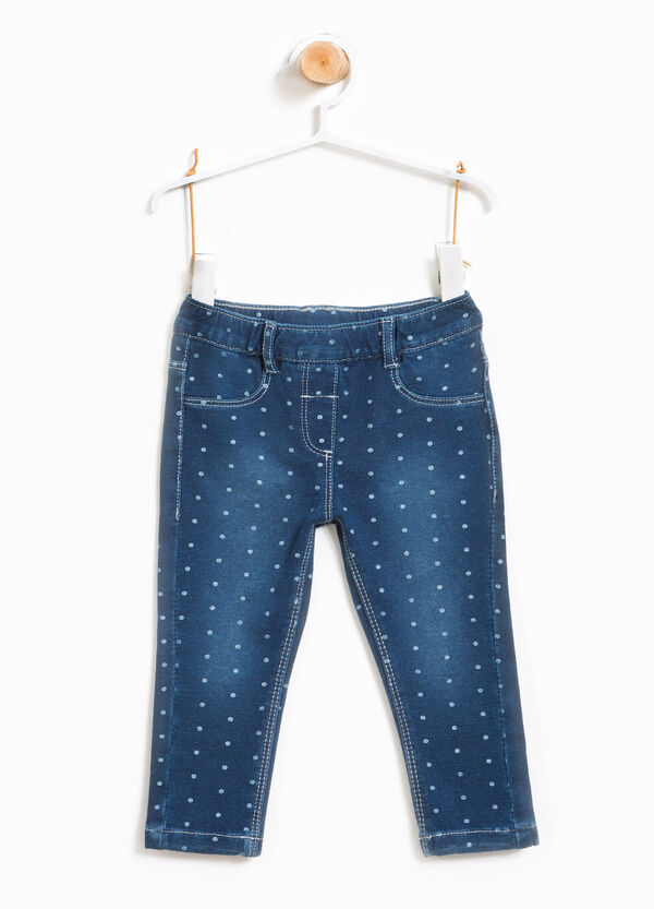 Faded stretch jeans with polka dot pattern | OVS