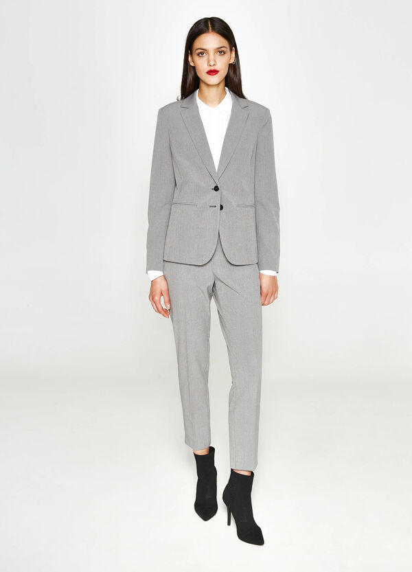 Elegant stretch jacket with micro check pattern | OVS