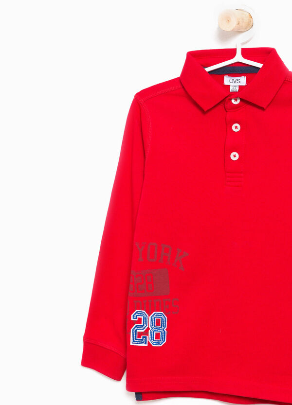 Cotton polo shirt with patch and printed lettering | OVS