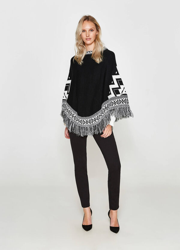 Poncho with fringing and embroidery