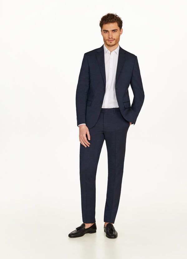 Regular-fit suit in 100% wool with two buttons