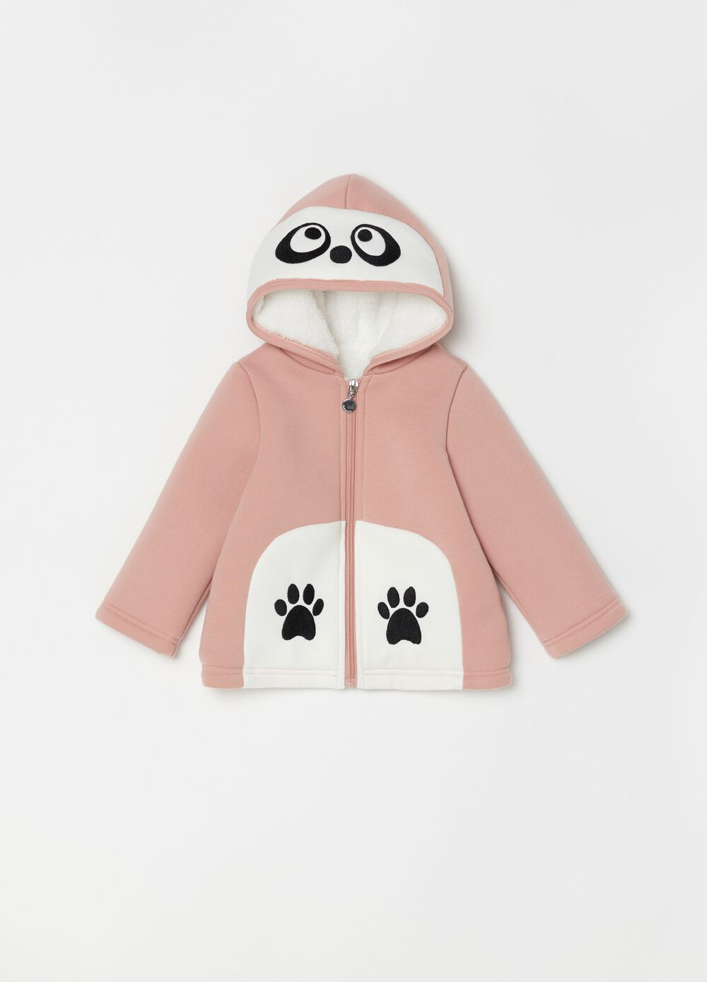 Jacket with hood and paw embroidery