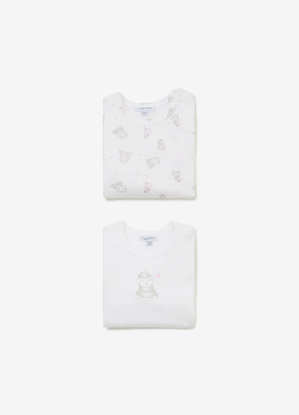 Twin-pack solid colour and animals motif bodysuits