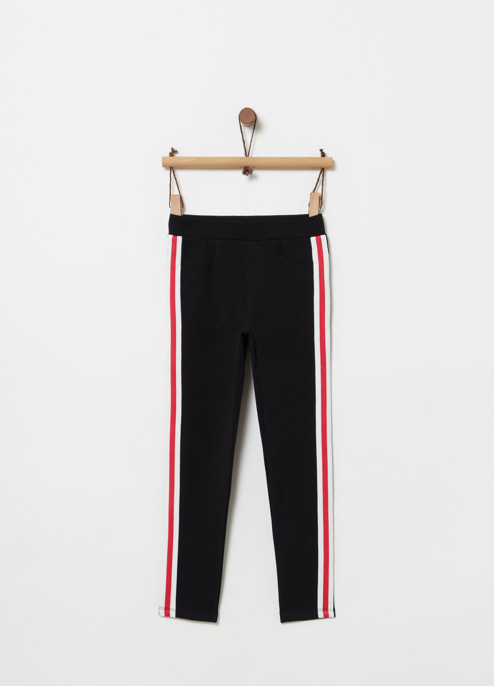 Jeggings with striped bands on the sides