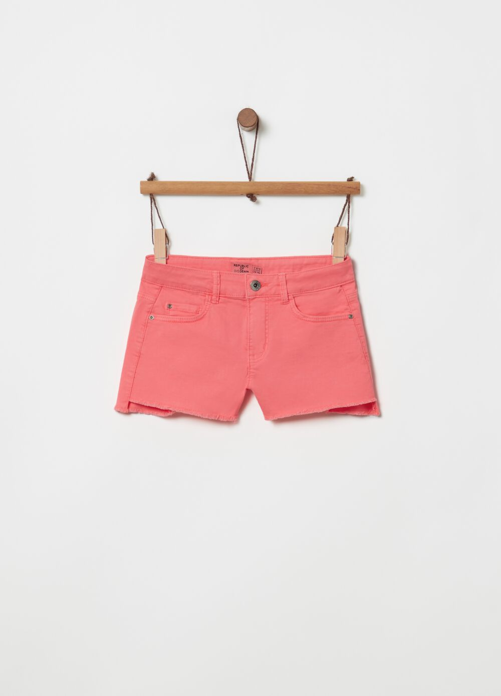 Five-pocket stretch cotton shorts