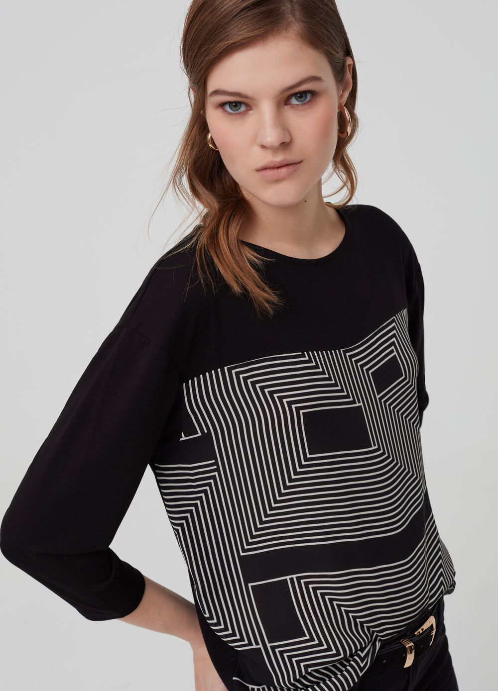Stretch viscose T-shirt with print