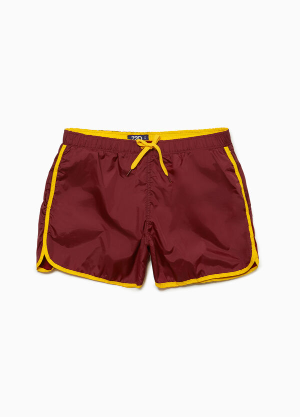 Swim boxer shorts with trim and print