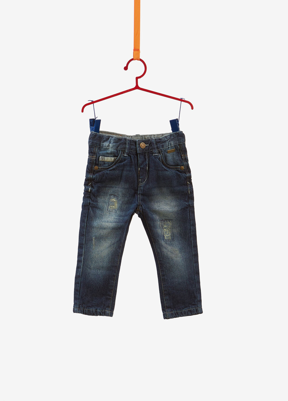 Jeans regular fit used con scoloriture