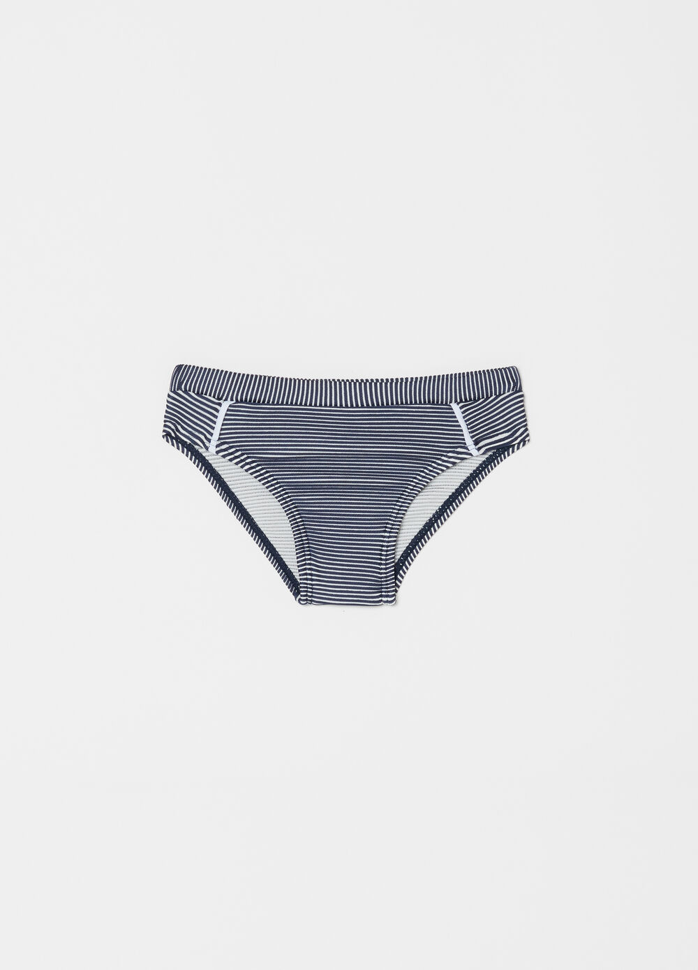 Stretch bikini bottoms with striped pattern